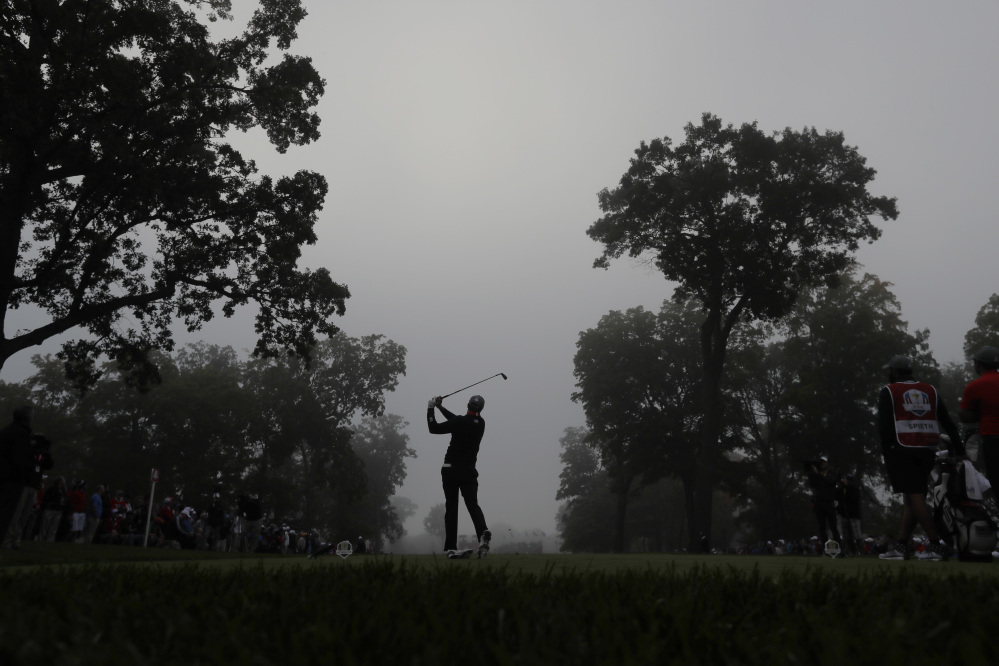 United States' Jordan Spieth hits from the fourth tee during a foresomes match at the Ryder Cup golf tournament Friday at Hazeltine National Golf Club in Chaska, Minn.