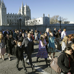 More than 100,000 Mormons are expected to attend at least one of five sessions of the semi-annual church conference this weekend in Salt Lake City. The church is expected to address several hot-button social issues.