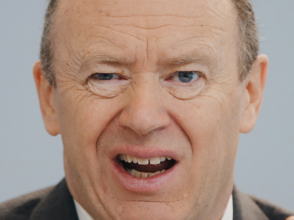 CEO of Deutsche Bank John Cryan speaks during the annual news conference in Frankfurt, Germany, on Jan 28.