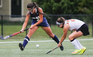YARMOUTH, ME - SEPTEMBER 30: Traip Academy forward Molly Humiston chases the ball alongside North Yarmouth Academy, midfielder Hannah Twombly.  (Photo by Ben McCanna/Staff Photographer)