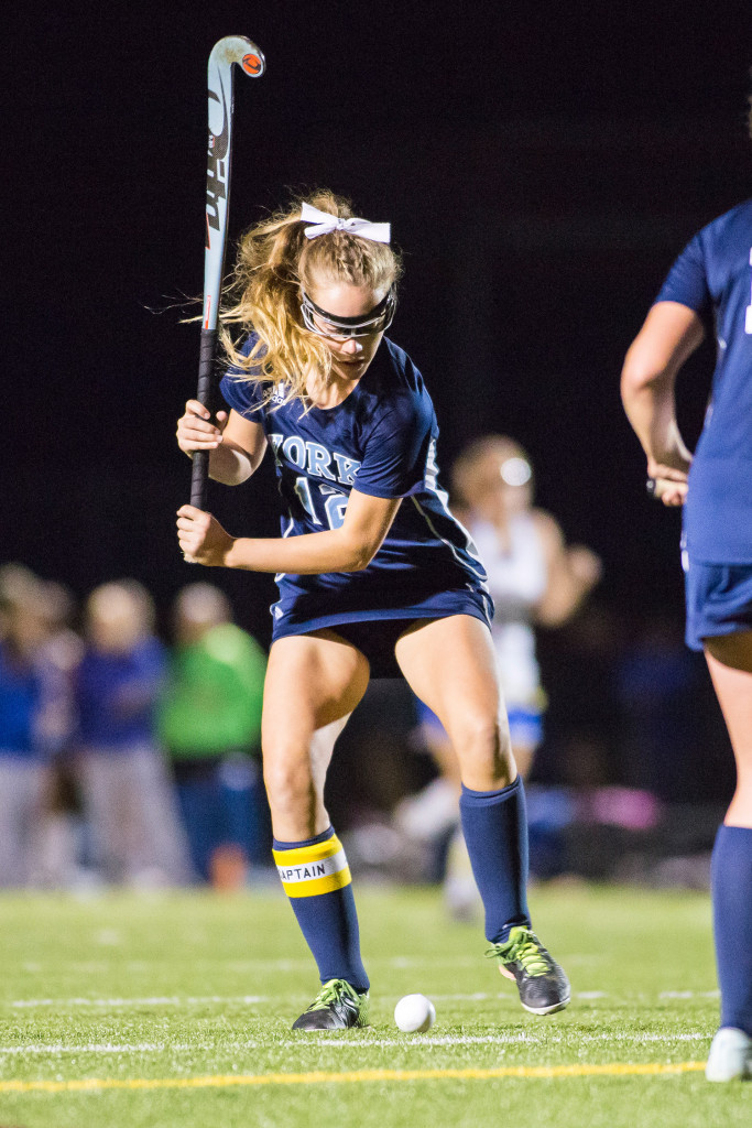 York senior Alexandra Lawlor winds up for a scoring shot against Falmouth.