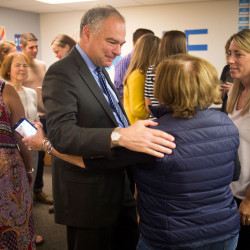 U.S. Sen. Tim Kaine of Virginia, the Democratic vice presidential candidate, talks with volunteers at a Hillary Clinton-Tim Kaine campaign office in downtown Portland on Thursday.