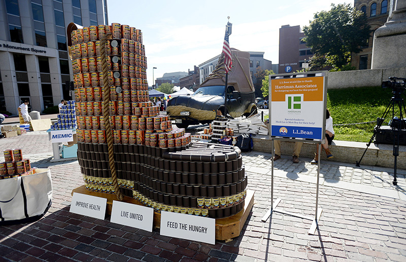L.L. Bean's iconic boot is made out of donated cans in the sculpture contest that helped to kick off the United Way of Greater Portland's annual campaign in Monument Square on Friday. The cans will be donated to the Wayside Food Programs and distributed to food pantries around Cumberland County.