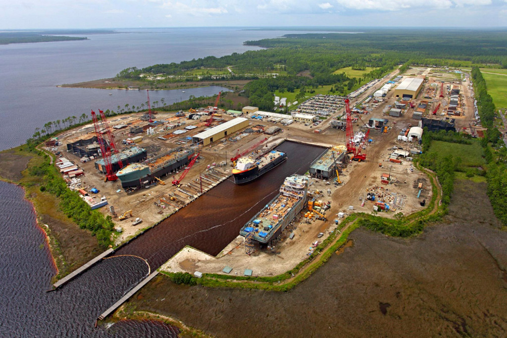 Eastern Shipbuilding Group's Allanton Shipyard in Panama City, Florida, sits on 140 acres with 6,000 feet of waterfront. The company has decades of experience in commercial shipbuilding but no apparent military ship-building experience. Photo courtesy Eastern Shipbuilding Group