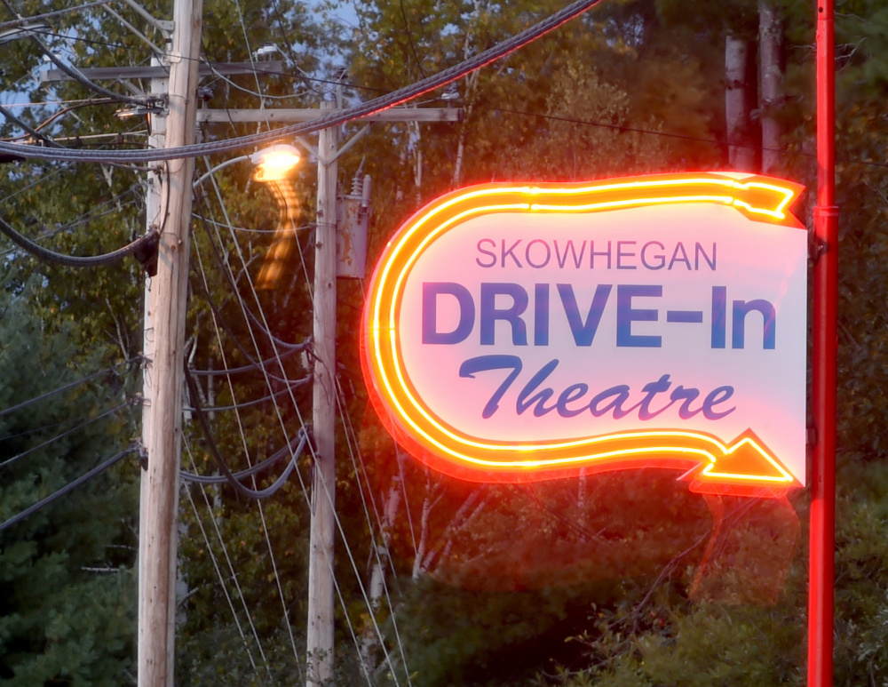 The new sign outside the Skowhegan Drive-in Theatre, seen Wednesday evening, is a replica of the original sign used when theater was built in 1954. The theater is on Waterville Road in Skowhegan.