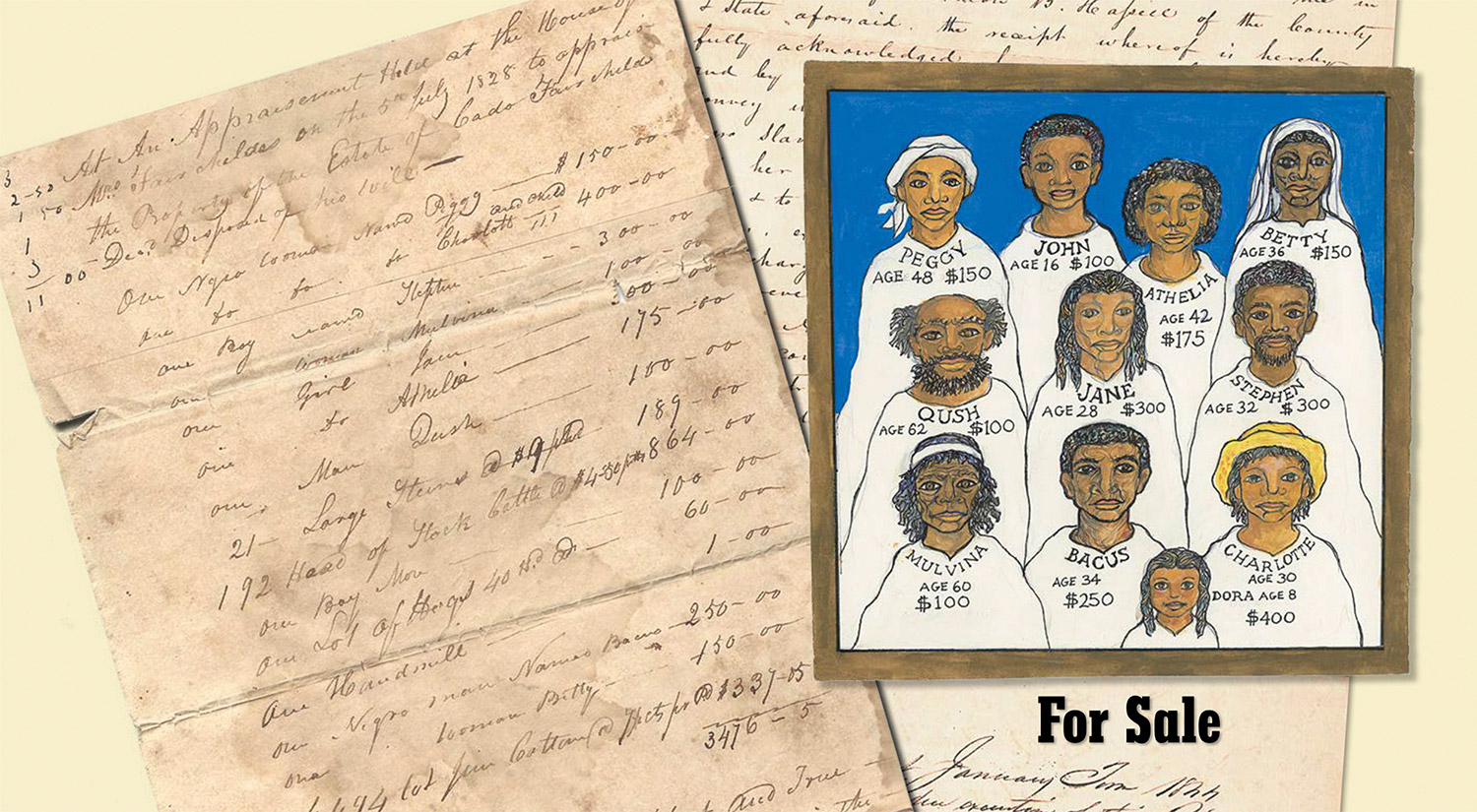The hand-written appraisement listing the names of the slaves that were the inspiration for Ashley Bryan to bring to life with faces, skills and dreams that might have been