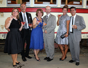 Wells residents Elizabeth Cooney, left, Judge Arcaro, Laura and Paul Bell and Jennifer and Marc Saulnier at the Seashore Trolley Museum fundraiser.