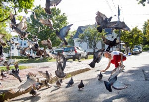 Damian Hoeflinger puts out bird seed for pigeons outside his apartment in Portland. Hoeflinger, who uses his tip money from his job at Scratch Baking to buy the seed, says he goes through about eight bags a week to feed the pigeons and squirrels on the street. He feeds the birds and squirrels because he believes in giving back to nature.