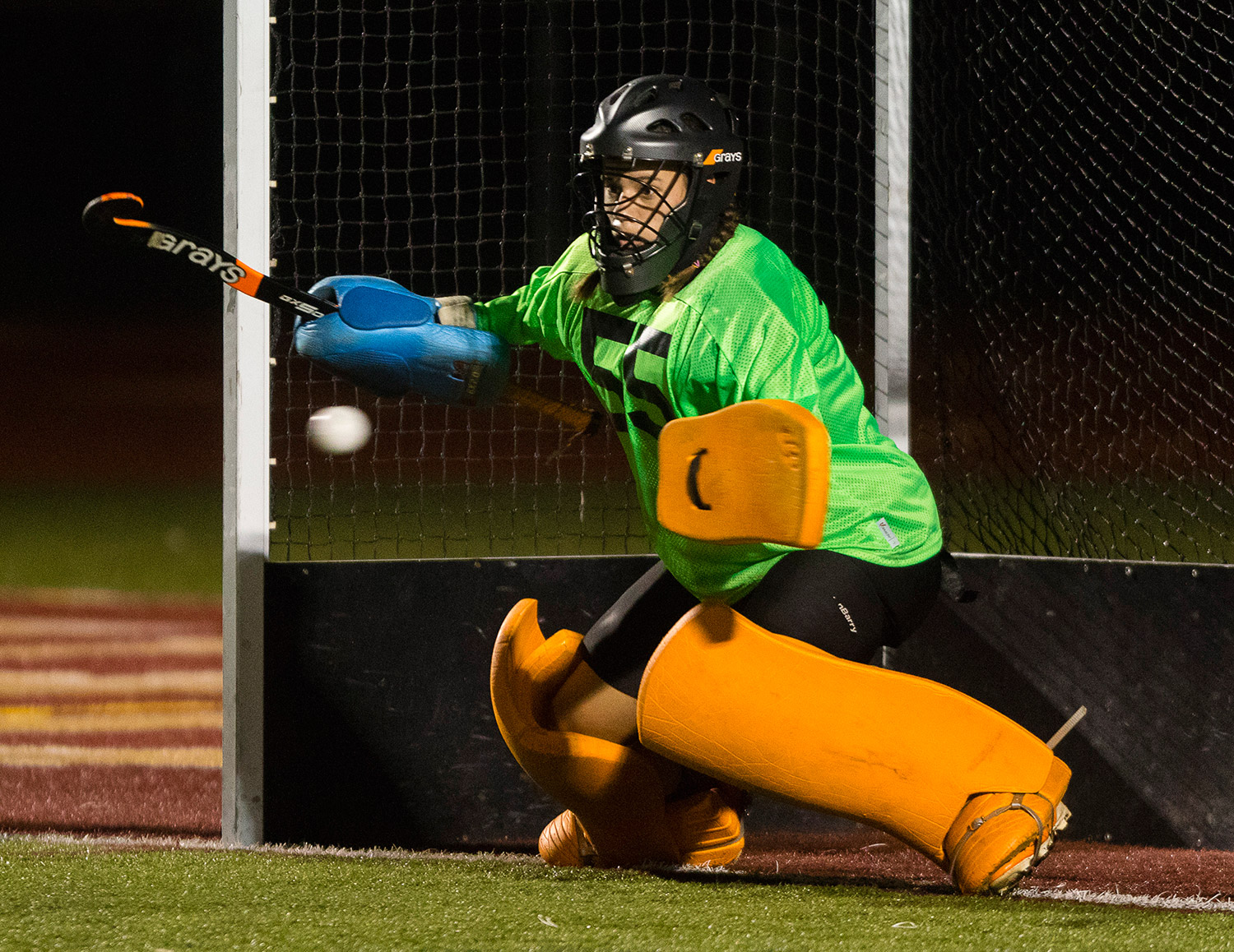 Biddeford goalie Taylor Wildes watches a penalty shot from Thornton Academy's Grace Decker go past during Monday's game in Saco on Monday. Carl D. Walsh/Staff Photographer