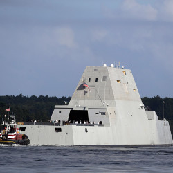 The Zumwalt has an angular shape to minimize its radar signature, an unconventional wave-piercing hull and a composite deckhouse that hides radar and other sensors.