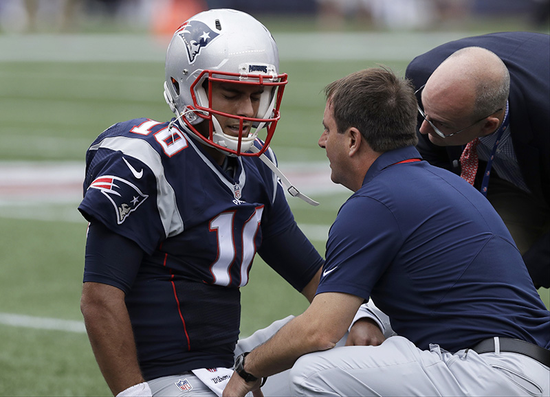 New England quarterback Jimmy Garoppolo could be the starting quarterback against the Bills next week, but the Patriots aren't saying.