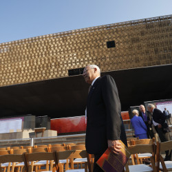 Former Secretary of State Colin Powell arrives for the dedication ceremony at the Smithsonian Museum of African American History and Culture on the National Mall in Washington on Saturday. (AP Photo/Pablo Martinez Monsivais)