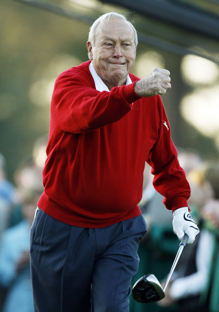 Arnold Palmer reacting after his 2011 ceremonial tee shot before the the Masters.    Associated Press/Matt Slocum