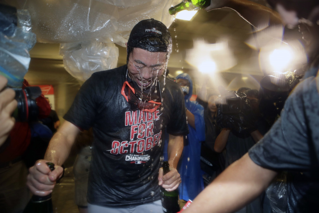The Red Sox lost a game, but still got to celebrate winning the AL East title. Associated Press/Frank Franklin II