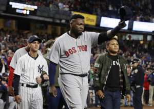 David Ortiz walks toward home plate before being honored before Thursday's game at New York. Associated Press/Frank Franklin II