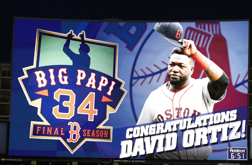 The video screen in center field at Yankee Stadium shows a tribute to David Ortiz. Associated Press/Kathy Willens