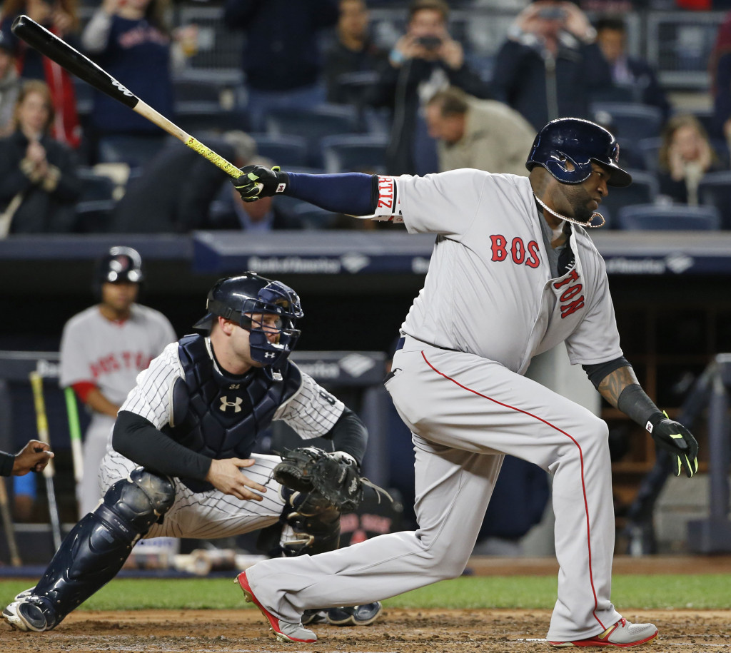 David Ortiz strikes out during the second inning. Associated Press/Kathy Willens
