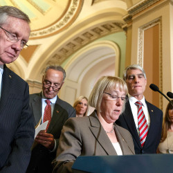 "From left, Senate Majority Leader Harry Reid, D-Nev., Sen. Chuck Schumer, D-N.Y., Sen. Patty Murray, D-Wash., and Sen. Mark Udall, D-Colo., talk to reporters after their effort to proceed on the ""Protect Women's Health From Corporate Interference Act,"" was thwarted, on Capitol Hill in Washington, Wednesday, July 16, 2014. Sen. Murray and Democrats sponsored the election-year bill to reverse last month's Supreme Court ruling that closely held businesses with religious objections could deny coverage under President Barack Obama's health care law.  (AP Photo/J. Scott Applewhite)"