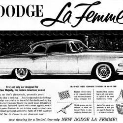 "The 1955 Dodge La Femme, dubbed ""the first and only car designed for Your Majesty, the modern American woman,"" illustrates the evolution of the auto industry, which is now driven by women."