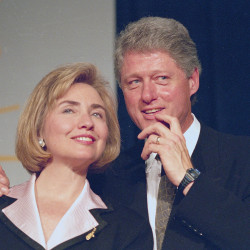 President Bill Clinton and first lady Hillary Rodham Clinton are shown in 1994, the year former Arkansas state employee alleged in a lawsuit that Bill Clinton groped her three years earlier.