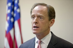Sen. Pat Toomey, R-Pa., speaks during a news conference in Philadelphia. Democrats are sounding increasingly concerned about their chances of retaking control of the Senate, as Republicans demonstrate a commanding fundraising advantage and Hillary Clinton's lead narrows in key battleground races. (AP Photo/Matt Rourke, File)