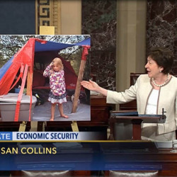 Sen. Susan Collins, R-Maine, is calling for reforms in federal anti-poverty programs. In a floor speech Wednesday to introduce her bill, she highlighted, as an example of the gaps in existing programs, the Maine Sunday Telegram's story about a 5-year-old girl who lived in Portland's woods this summer.