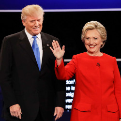 "Republican presidential nominee Donald Trump and Democratic presidential nominee Hillary Clinton are introduced during the presidential debate at Hofstra University in Hempstead, N.Y., Monday. Trump maintained that the Democratic nominee did not unnerve him, but he admitted that he was irritated ""at the end, maybe."""