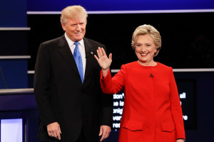 """Republican presidential nominee Donald Trump and Democratic presidential nominee Hillary Clinton are introduced during the presidential debate at Hofstra University in Hempstead, N.Y., Monday. Trump maintained that the Democratic nominee did not unnerve him, but he admitted that he was irritated """"at the end, maybe."""""""