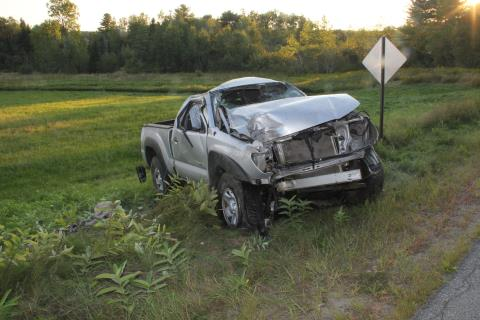 Two men died after this truck rolled over in Prospect on Saturday. (Courtesy Maine State Police)