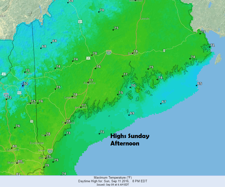 A land breeze Sunday afternoon should help boost temperatures well into the 70s