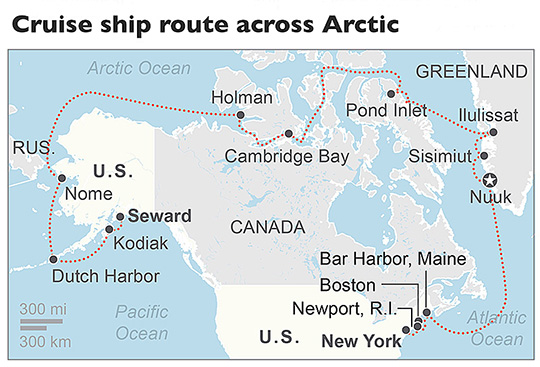 The Crystal Serenity began its voyage in Seward, Alaska, on Aug. 15, reached Ilulissat, Greenland on Sept. 6. It will make a port of call in Bar Harbor on Sept. 12 en route to its final destination of New York City on Sept. 16. Associated Press map with information from Crystal Cruises