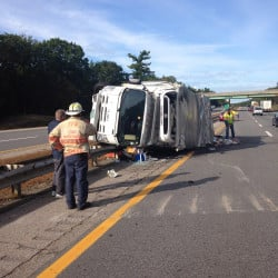 A truck crash disrupted travel on the Maine Turnpike northbound in Ogunquit on Tuesday afternoon.