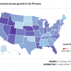 Map of personal income growth in the 50 states between the first and second quarters of 2016, according to estimates from the federal Bureau of Economic Analysis.