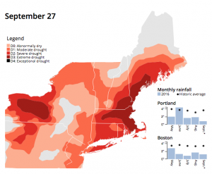 Drought conditions map of New England as of Sept. 27, 2016