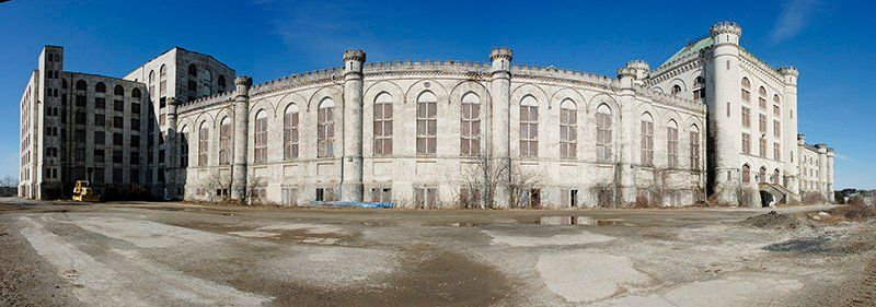 This panoramic photo made from four images in 2008, shows the former Naval Prison at Portsmouth Naval Shipyard in Kittery.