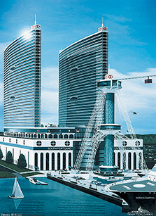 John Cacoulidis proposed this $900 million hotel and convention center on the South Portland waterfront in 2001. It called for a harbor-crossing cable-car system and two 635-foot-tall elliptical-shaped hotels with a total of 2,600 rooms. Press Herald file rendering