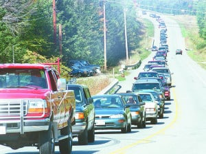 Enthusiasm for the Common Ground Fair caused traffic to slow and back up on Route 17 in 1999.