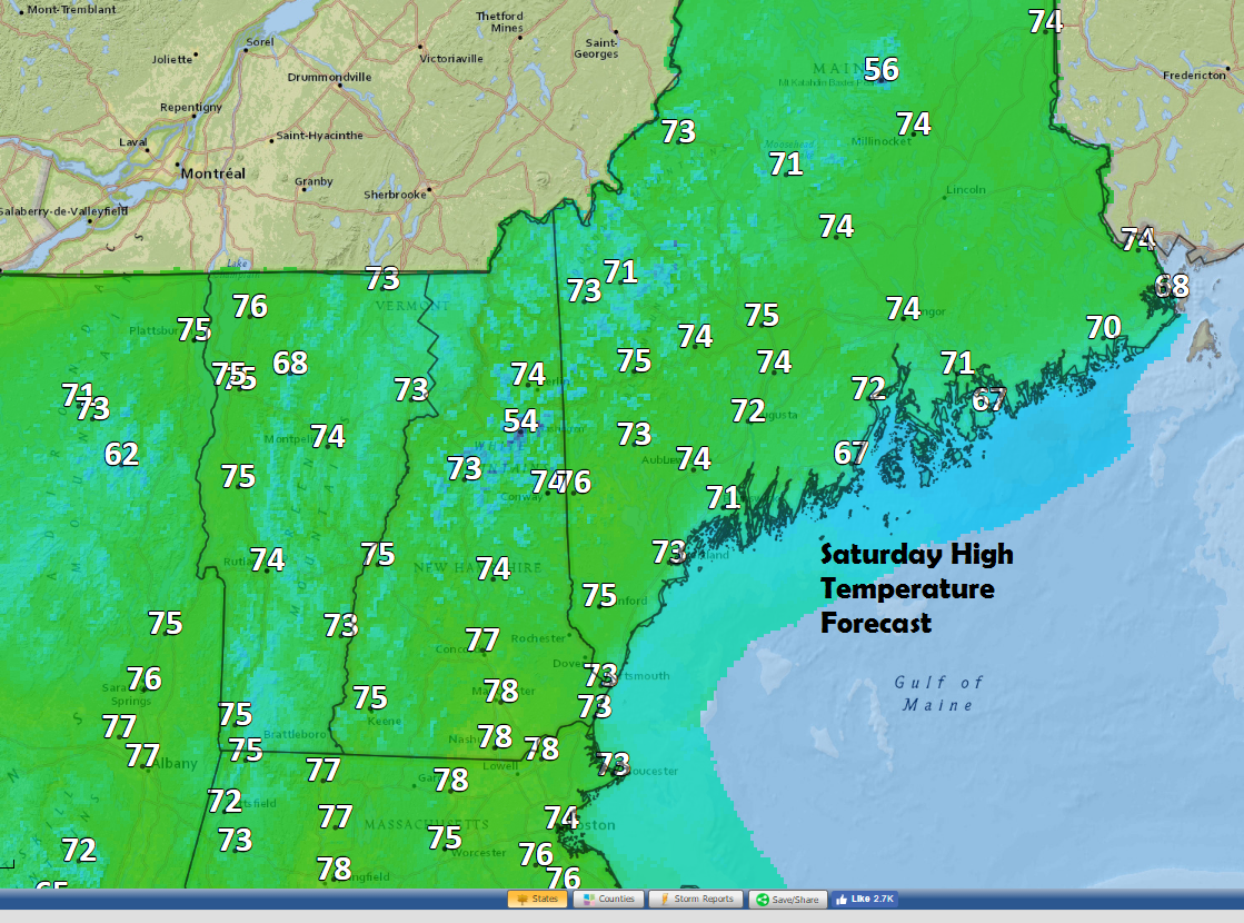 Temperatures will reach the 70s on Saturday in most areas.