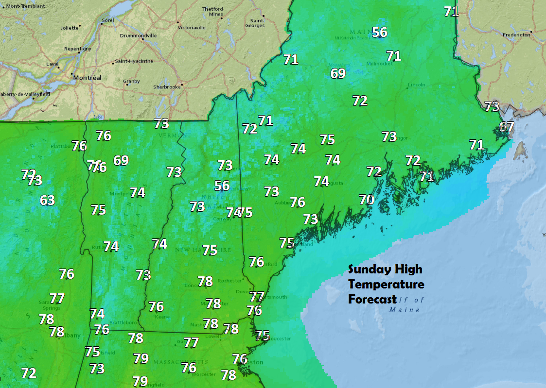 Even with clouds it will still reach the 70 mark on Sunday.