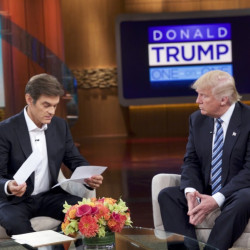 """Dr. Oz and Republican presidential candidate Donald Trump talk during a taping of the syndicated """"Dr. Oz Show,"""" which will be broadcast Thursday afternoon."""