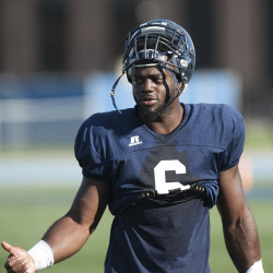 UMaine's Christophe Mulumba Tshimanga grew up in Canada playing hockey before switching to football. Kevin Bennett Photo