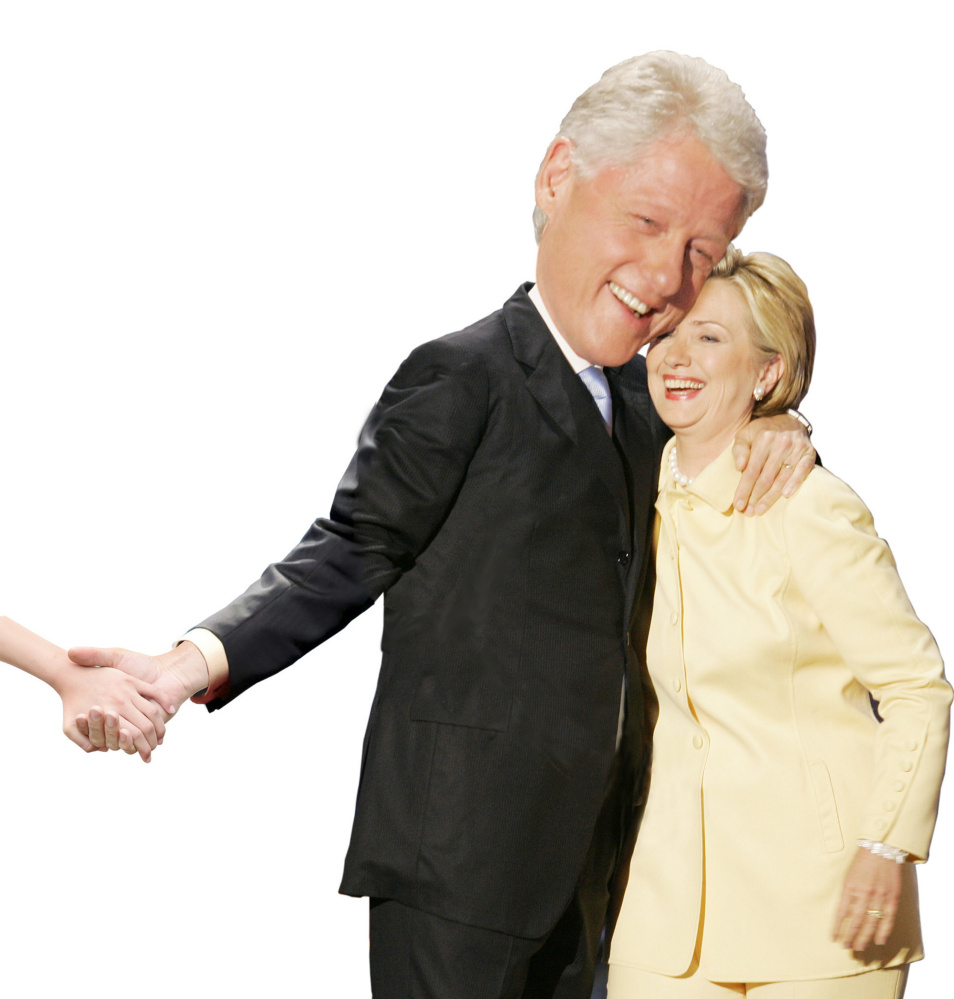 Former U.S. President Bill Clinton embraces his wife, former first lady and current New York Senator Hillary Rodham Clinton, after she introduced him prior to his speech on the opening night of the Democratic National Convention, at the FleetCenter in Boston, July 26, 2004. Clinton promised on Monday to be a