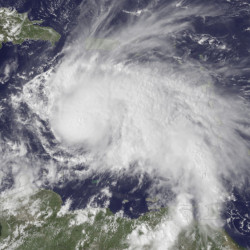 The GOES East satellite image provided by the National Oceanic and Atmospheric Administration at 2:45 p.m. EDT Thursday, shows Hurricane Matthew in the Caribbean about 190 miles northeast of Curacao. Matthew, one of the most powerful Atlantic hurricanes in recent history, weakened a little Saturday as it drenched coastal Colombia and roared across the Caribbean on a course that still puts Jamaica, Haiti and Cuba in the path of potentially devastating winds and rain.