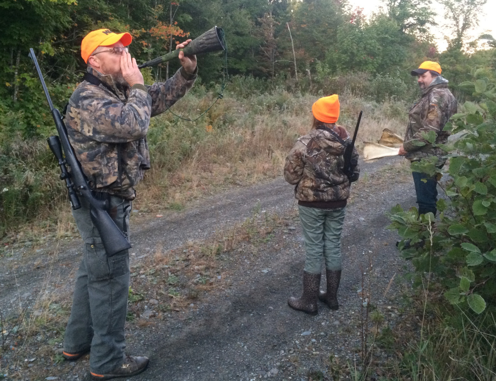 With a party near Moosehead Lake, Maine Guide Jake Allain calls moose on opening day last week.