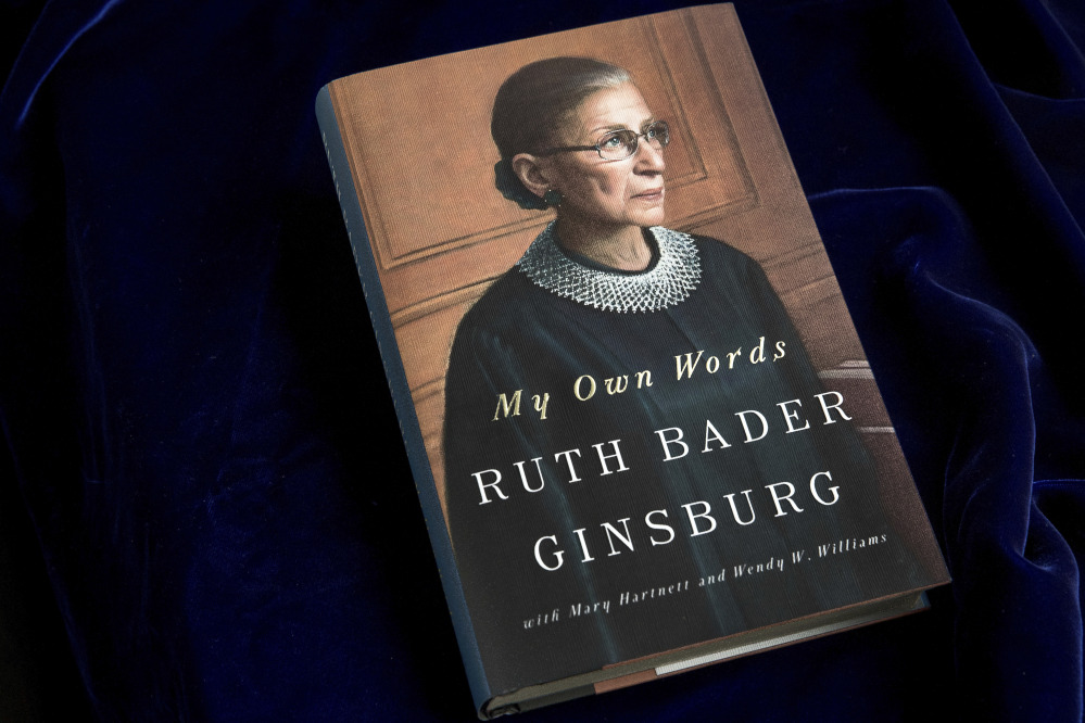 """""""My Own Words,"""" by Supreme Court Justice Ruth Bader Ginsburg, will be available Tuesday."""