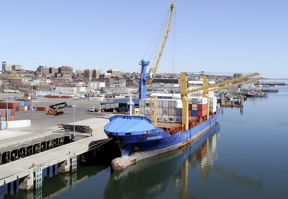 An Eimskip container ship, the Skogafoss, is docked at the Portland International Marine Terminal in 2013. A jump in Maine's exports to six of the Arctic Council's other member nations is directly attributable to Eimskip's arrival in Maine.