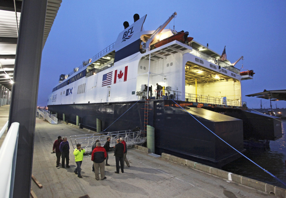 The Cat, the ferry that shuttled passengers daily between Yarmouth, Nova Scotia, and Portland, arrives at the Ocean Gateway terminal in June.