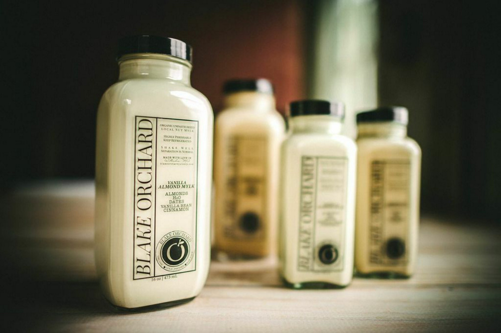 Available in vanilla and chocolate, Blake Orchard Mylk is made from almonds and sold in the company's juice shop on Exchange Street.