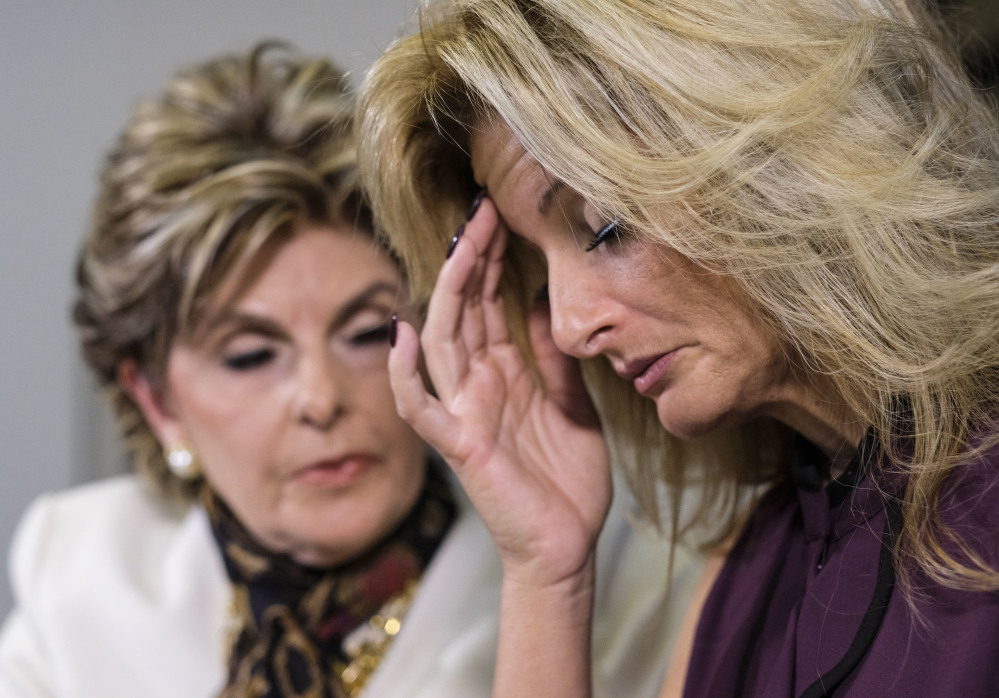 """Summer Zervos, right, reads a statement alongside her attorney, Gloria Allred, at a news conference in Los Angeles on Friday. Zervos, a former contestant on """"The Apprentice,"""" says Donald Trump made unwanted sexual contact with her at a Beverly Hills hotel in 2007."""
