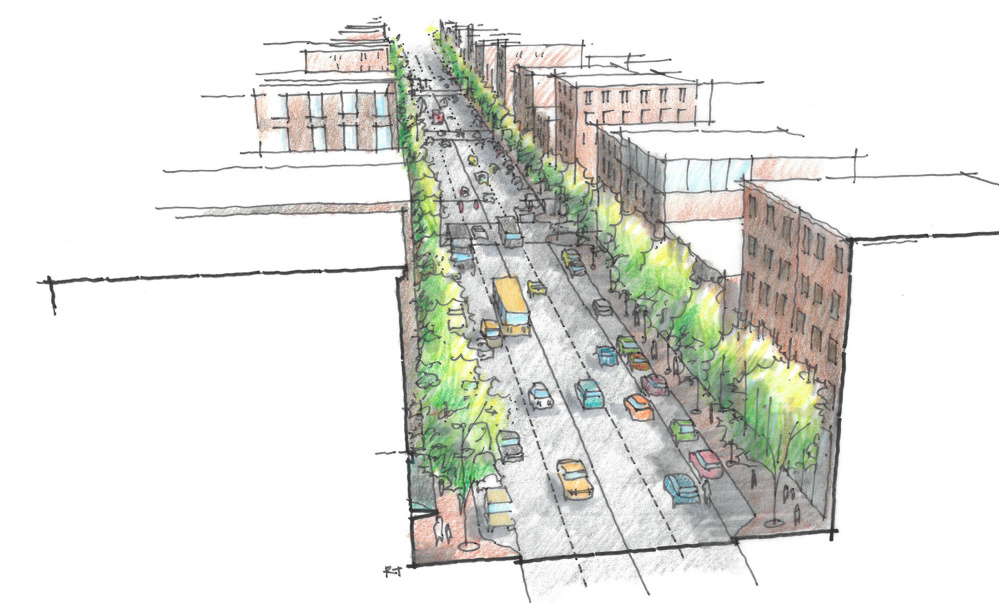 Renderings of a redesigned Forest Avenue from above.